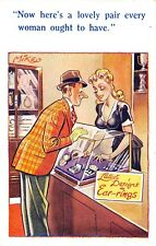 POSTCARD  COMIC  Lady  Shop  Assistant  Boobs  Ear - Rings