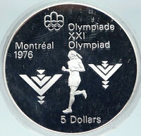 1975 CANADA Queen Elizabeth II Olympics Marathon Athlete Silver $5 Coin i86924