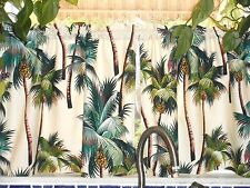 PAIR Tropical Hawaiian 100% Cotton Barkcloth Fabric CAFE' CURTAINS ~Palm Trees~