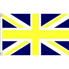 Union Jack Blue & Yellow Large Flag 8Ft X 5Ft Football Sports Banner - 2 Eyelets