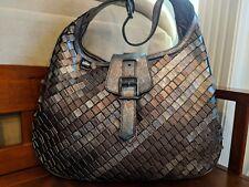 Burberry Metallic Silver/Bronze  Leather Hobo Purse Handbag