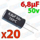 20x Condensador 6,8uF 50v electrolitico 105ºC 20% 4x8 PCB PIC Arduino 6.8