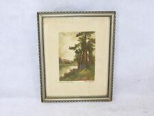 Pastel Paisaje Imagen en el marco um 1900 firmado