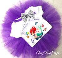 age 1st - 7th Little Mermaid Ariel Birthday Tutu Girl Outfit Shirt Headband