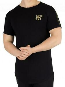 Sik Silk Mens T Shirt Muscle Fit Crew Neck Short Sleeve Cotton Ringer Gym Tee