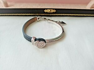 GUESS BLACK LEATHER CRYSTAL HEART SILVER TONE BRACELET