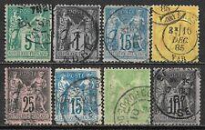 1876-1898 FRANCE Set of 8 USED STAMPS (Sc.#79,86,92,99,100,103,105,106) CV $13.1