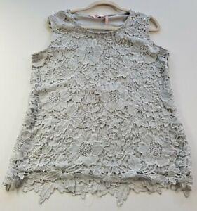 Miller Women's Sleeveless Blouse Top 16 Gray Lace Crewneck Romantic Polyester