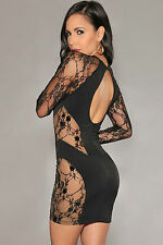 Abito ricamato trasparente nudo Lace Nude Illusion Embellished Bodycon Dress M
