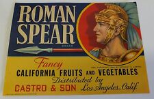 1950'S Castro & Son-Roman Spear Brand California Fruits and Vegetables Label