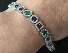 Estate 14K White Gold 13.9 CT Diamond Emerald Ruby Sapphire Halo Bracelet