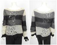 Womens Sarah Pacini Superkid Mohair Merino Wool Knit Jumper Sweater One Size