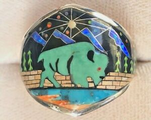 Old Opal Turquoise Buffalo Sky Mountain Scape ring Pictorial Ring Men's 11.5 X