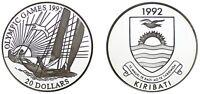 20 Silver Dollars / 20 Dollars Argent Kiribati 1992. Barcelona Olympics. Proof.