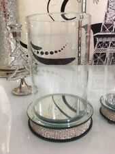 Large Luxury Hurricane Pillar Candle Holder with Crystal Detail