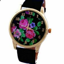 Wrist watch women dial faux leather Printed flowers strap quartz analog Cute