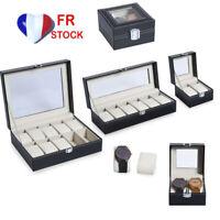 2/610 Pads Présentoir à montre Boîte de rangement montres Bijoux Coffret Noir