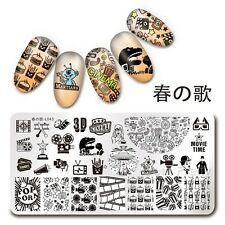 Nail Art Stamping Template Cinema Moive Time Drink Image Plate Harunouta L043