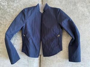 HERMES Navy Grey Lightweight Quilted REVERSIBLE Front-Zip Jacket Coat S NEW