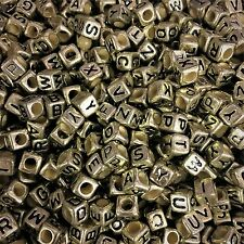100 x 6mm Gold Alphabet Beads, Mixed Letters, Pony Beads, Dummy Clips