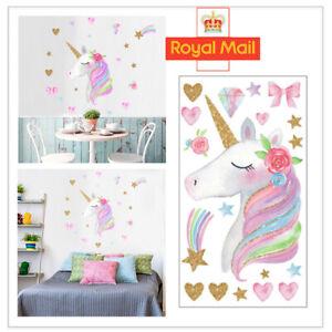 Rainbow Unicorn Wall Stickers Star Heart Cloud Kids Girls Bedroom Art Nursery