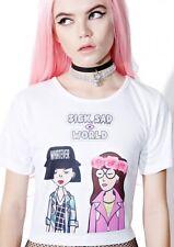 New Dolls Kill Bummer Club Cropped T-shirt Size M Daria 90's Graphic Tee Punk