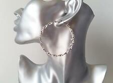 Gorgeous shiny silver tone twisted style hoop earrings, * NEW *  6cm - 2.4""