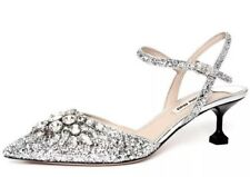 Miu Miu Women's Leather Glitter Crystals Strappy Closed Toe Pumps 6328 Sz 39 EUR