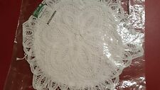 "New linen bun cover warmer Battenburg tape lace 13-14"" Doily"