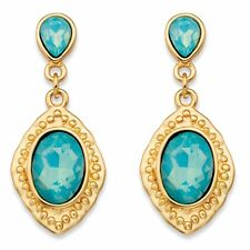 Oval Simulated Blue Aquamarine Gold Tone Vintage-Inspired Drop Earrings (44mm)