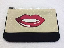 Ipsy New Beige Black Red Lips Organizer Make Up Cosmetic Bag