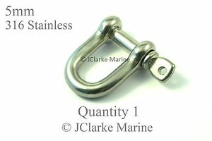 5mm M5 Straight D / Dee shackle made from marine grade stainless steel 316 A4