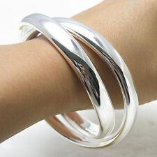 Wholesale 925Sterling Silver Noble Double Large Loop Circle Bracelet 7CM B150