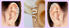 925 Sterling Silver Plated SNAKE EAR CUFF Upper Helix Clip on+Adjustable Size UK