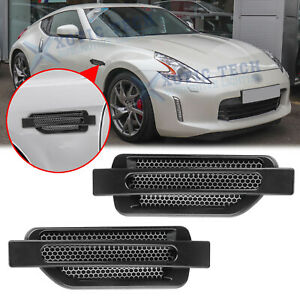 2x Black Racing Shark Side Fender Air Flow Scoop Vent Cover Trim For Nissan 370Z