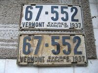 1936 36 1937 37 VERMONT VT LICENSE PLATE NICE RUSTIC TAG NUMBER  BUY IT NOW PAIR