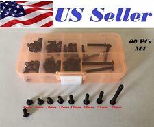 60 Pcs M4 6-40mm Black  Alloy Steel Allen Button Head HexScrew kit Assortment