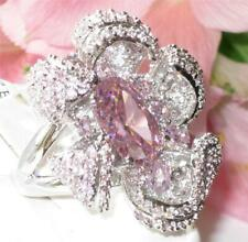 Ladies pink ring cocktail huge cz sapphire flower statement detailed new 80316