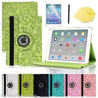 360° Apple iPad 2/3/4/Air/Pro Schutz Hülle+Folie Smart Cover Case Etui BLUMEN-6F