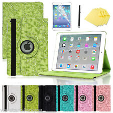 360° Apple iPad 2/3/4/Air/Air 2 Schutz Hülle+Folie Smart Cover Case Etui BLUMEN