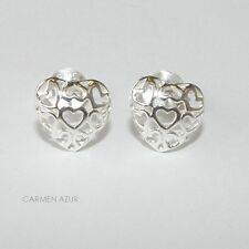 Solid 925 Sterling Silver Stud Earrings Filigree Style Hearts New with Gift Bag