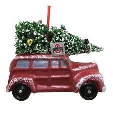 "OHIO STATE BUCKEYES CAR VAN W/ CHRISTMAS TREE RESIN ORNAMENT 3.5"""