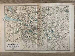 1884 Environs of Glasgow Antique Hand Coloured Map by Edward Weller