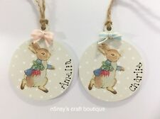 Handmade Personalised Peter Rabbit Christmas Tree Decorations Baby Hanger x 1