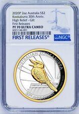 2020 Australia Gilt High Relief 2oz Silver Kookaburra 30 Ann $2 Coin Ngc Pf70 Fr