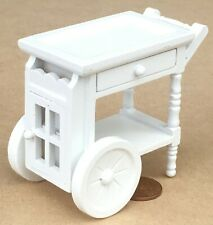 1:12 Scale White Painted Wooden 2 Tier Tea Serving Trolley Tumdee Dolls House