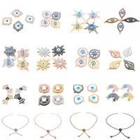 18K Colorful CZ Zircon Evil Eye Beads Fashion Bracelet Necklace Charm Pendant
