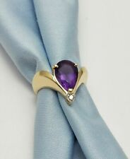 Ring With Amethyst/ Diamonds 14k Yellow Gold