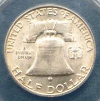 1953 D ANACS MS 63 FBL Silver Franklin Half Dollar, 50 Cents, Full Bell Line