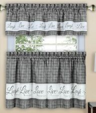 "3 pc Curtains Set: 2 Tiers & Valance(58""x 14"") LIVE LAUGH LOVE, gray by Achim"
